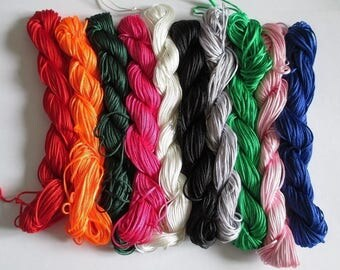lot 10 skeins of 25 m thread nylon 1 mm mix color