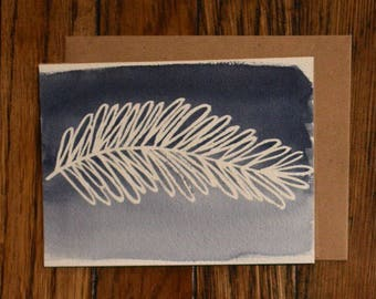Hand-Painted Pine Leaf Holiday Card