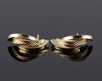 14k Hollow Tube Rope Twist Earrings Gold