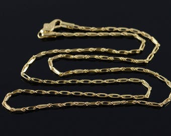 """14k Bar Rope Link Chain Necklace Gold 17.9"""""""