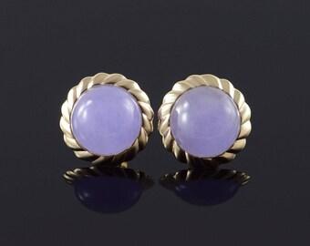14k 12mm Amethyst Scalloped Bezel Stud Earrings Gold