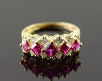 14k 1.85 CTW Created Ruby Diamond Tiered Ring Gold