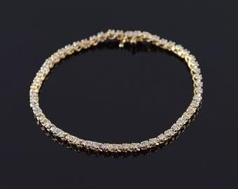 "14k 0.54 Ctw Diamond Box Closure Tennis Bracelet Gold 6.75"""