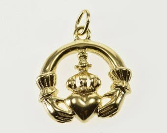 14k High Relief Traditional Irish Claddagh Celtic Charm/Pendant Gold