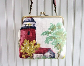 """Red and White Lighthouse Trees on White Ground Vintage Barkcloth Fabric 8"""" Antique Brass Kisslock Frame Crossbody Shoulder Bag Purse"""