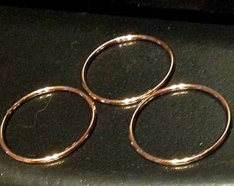 Rings Gold or Silver- 14K Rose Gold Filled- or - Sterling Silver- Sets of 3 - Stackable - Petite - Wear them on all your fingers or toes!
