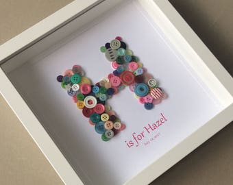 Button Art Initial Picture, Button Letter, Alphabet Art, Christening Gift, New Baby, Bridesmaid Gift, Gift for Niece, Baby Shower, Baby Girl