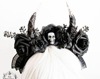 Black gothic flower horn  headband-gothic  skull headpiece- black  flower headpiece-skull headpiece
