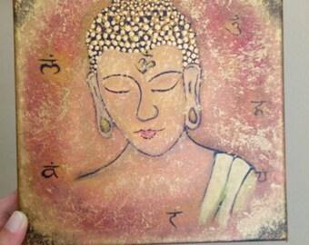 Small Buddha painting. Chakra painting. Acrylic painting.
