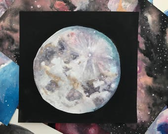 Moon - Original Watercolor Painting