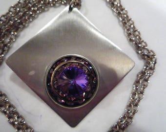 Retro pendant and chain, Retro jewellery, Purple jewellery,