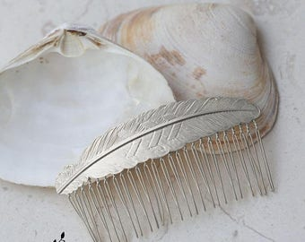 Silver Hair Comb Feather Comb Grecian Headpiece Wedding Comb Wedding Headpiece Bridal Comb Goddess Headpiece Bridal Hair Accessory Woodland