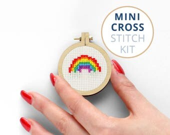 Mini Rainbow, x stitch kits, cool cross stitch kits, Pride cross stitch and embroidery kits, miniature cross stitch kits, Popular Culture