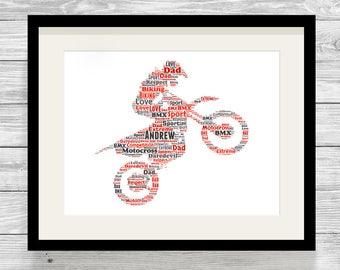 Personalised Motocross Word Art Print Bespoke Typography Digital Print or Framed, Cycling