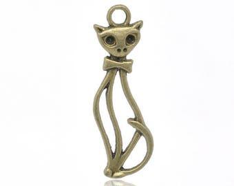 Set of 10 pendants cat metal color bronze