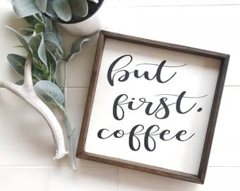 But First Coffee Wood Sign, Coffee Bar, But First Coffee, Coffee Kitchen  Decor