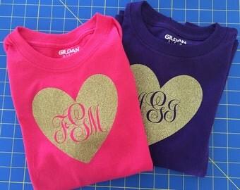 Glitter (Heart) Script Monogram T-shirt