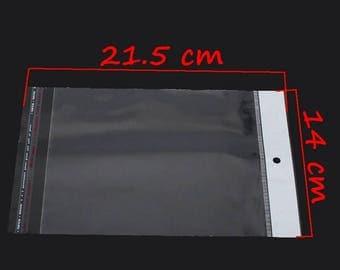 200 transparent sticker packs 21.5 x 14 cm