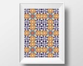 Talavera Tile Wall Art, Home Decor, Portuguese Tiles, Art Poster, Azulejos Wall Art, Tile Print, Printable Art, Azulejos Mosaic Pattern
