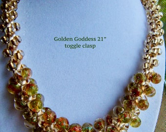 Gold Unicorn Bead Kumihimo Necklace