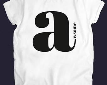 Awsome  White Women Top T-shirt Tees Casual Street Style