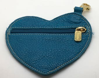 Roots  Canada Genuine Leather Heart Shape Coin Purse Wallet Turquoise Blue Carabiner  Hook Made In Canada Mother's  Valentine's Day   Gift