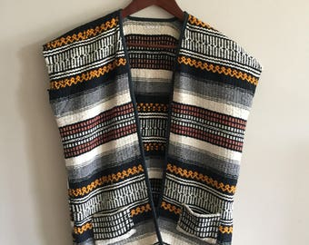 Mexican Blanket Vest Boho Vest 1970's Clothing