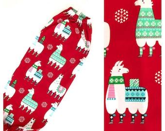 XL Plastic Bag Holder/ Grocery Bag Holder/ Bag Dispenser - Christmas Llamas Red