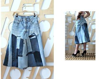 Denim skirt Upcycled Long skirt Boho Goa Festival Hippie Grunge Patchwork skirt Hipster A line skirt Levis 26 waist Steampunk Casual