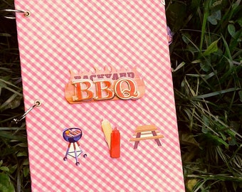 BBQ Recipe/Memory Book-Cookbook-Recipe Binder-Scrapbook Style-Cooking-Family Keepsake, picnic, summer, wedding gift, family gift, gift idea
