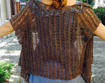Asymmetric cardigan sweater, cardigan in coffee color flax and golden thread, crocheted lace, customizable
