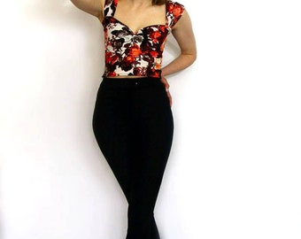 Floral cap sleeve sweetheart neckline crop top made to Measure rockabilly pin up
