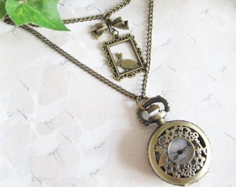 Pocket Watch * White Rabbit * * Alice in Wonderland * brass, alice, necklace jewelry