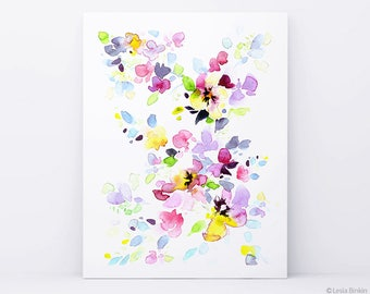 Bright Morning, lower painting, abstract painting, colorful art, purple painting, watercolor floral print,  watercolor flower art