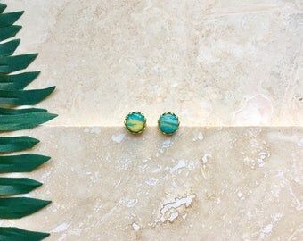 Turquoise earrings, boho earrings, gift for her, gold earrings, marble earrings