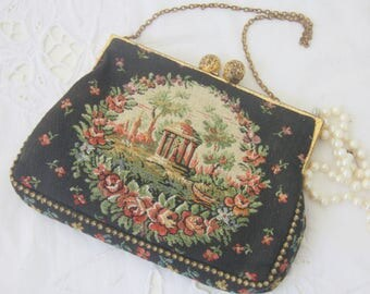 Vintage Petit Point Fabric Purse, Evening Bag, Metal Closure and Chain Strap, Flower and Park Arbor Decor