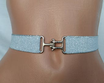 Silver Waist cincher Wedding Elastic Stretch belt Bridal Statement accessory Light silver elastic belt womens elastic cinch belt