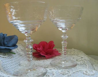 Etched Crystal Champagne Glasses ~~ 1940's Delicate Etched Sherbert/Champagne Stemware