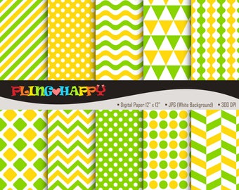 70% OFF Yellow And Apple Green Digital Papers, Chevron/Polka Dot/Wave/Stripe Graphics, Personal & Small Commercial Use, Instant Download