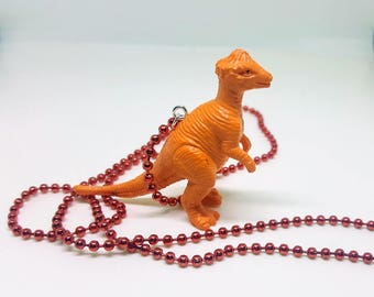 Dinosaur Necklace Red Ball Chain Orange Dinosaur Jewelry Gifts 5 and Under