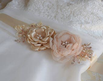 Wedding Dress Sash, Bridal Sash, Champagne Sash, Bridal Belt, Wedding belt, Flower sash, Bridal Dress Belt, Bridal Flower Sash , Fascinator