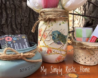 Mason Jar Bird Desk Set-Desk Set-Bird Mason Jar Office-Desk Organizer-Mason Jar Office Set-Office -Spring Decor-Desk Set-business card jar