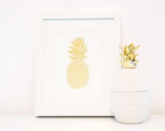 Gold Foil Pineapple Wall Decor Print