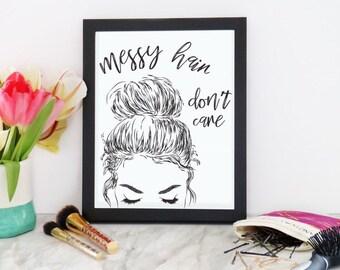 "Girl Illustration ""Messy Hair Don't Care"" Wall Decor Print"