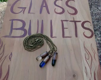 Custom Glass Bullet Necklace W/ Chain - Aqua, Blue, or Clear CHOICE- Etched,  #1 DAD - Father's Day Gift - Hunters, Law Enforcement