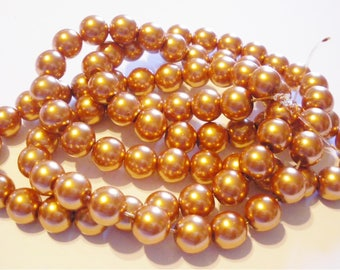 50 glass pearl beads 8 mm gold