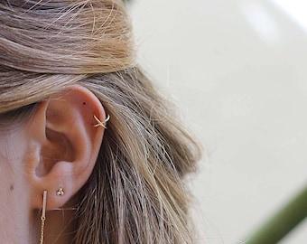 silver ear cuff -  dainty ear cuff - x ear cuff - danty earrings - cross ear cuff - minimalist 18K yellow gold ear cuff