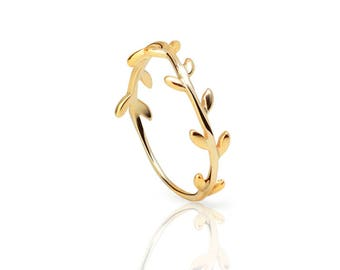 leaf ring - Gold ring - leaves gold ring, Minimalist Leaves Cz ring, Leaf cz ring, Stackable ring, Tiny leaves ring