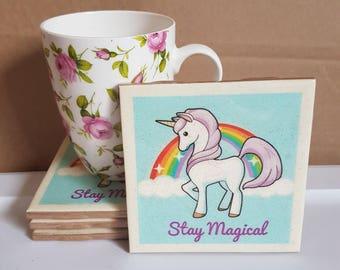 "Glittered Unicorn coasters. ""Stay magical"" Rainbow. Glitter. Birthday. Christmas. Housewarming. Gift.  Ceramic. Tile."