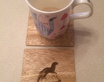 Otter on a Rock Wood Coasters, Wildlife Coasters, Wood Coaster, Decorative Wood Coasters